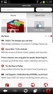 Opera Mini Web Browser For Android Phones V 7.5.3 Mobile Software