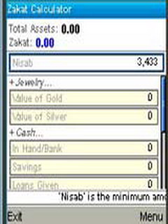 Zakat Calculator For Java Phones V 1.00 Mobile Software