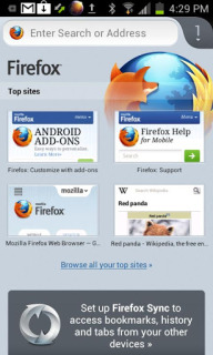 Firefox For Android Phones  V 21.0 Mobile Software