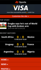 AP 2010 World Cup Mobile Software