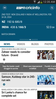 The ESPNcricinfo Cricket App V 3.6 Mobile Software