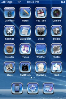 Glossy Blue Apple IPhone Theme Mobile Theme