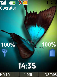 Butterfly Clock Theme Mobile Theme