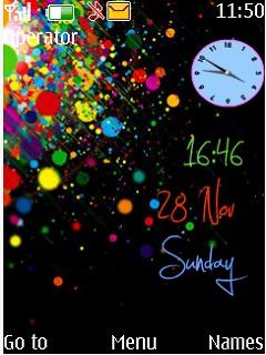 Rainbow Dual Clock Mobile Theme