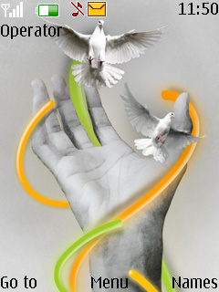 Bird Over Hand Mobile Theme