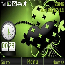 Black Green Heart Mobile Theme