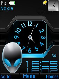 Blue Dual Clock Mobile Theme