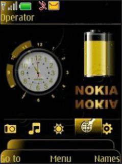 Nokia Clock Golden Mobile Theme