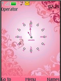 Pink Clock Swf Mobile Theme