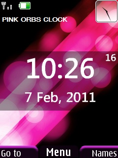 Pink Orbs Clock Mobile Theme