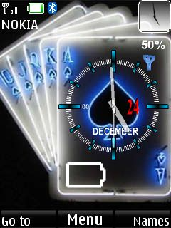 Spade Cards Clock Mobile Theme