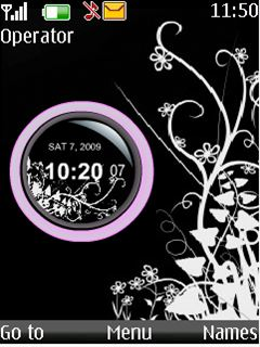 Black N White Flash Clock Mobile Theme