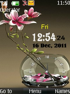 Dual Flower Clock Mobile Theme