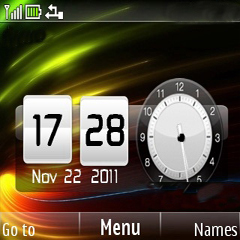 3D Rays Dual Clock Mobile Theme