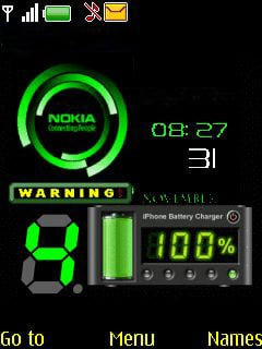 Nokia Green Clock Mobile Theme
