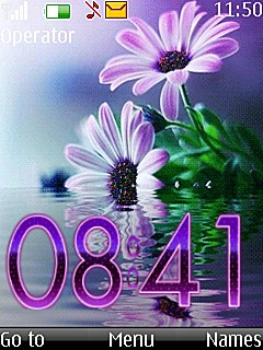 Digital Flower Clock Mobile Theme