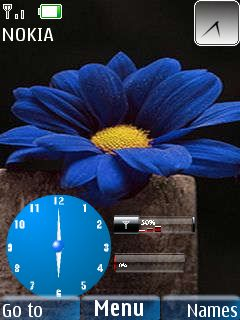 Flower Clock Wth Icons Mobile Theme