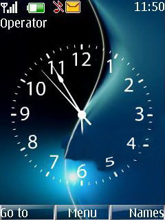Blue Black Clock Mobile Theme