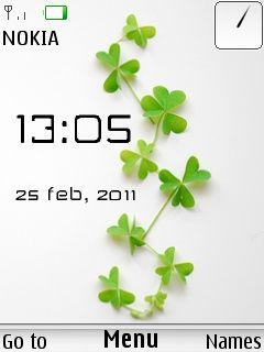 Green Leaves Clock Mobile Theme