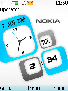 3D Nokia Dual Clock Mobile Theme