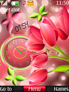 Tulip Dual Clock Mobile Theme