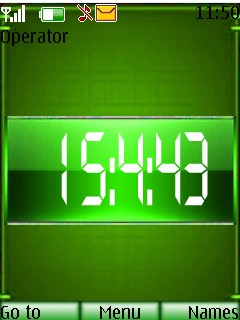 Green Digital Clock Mobile Theme