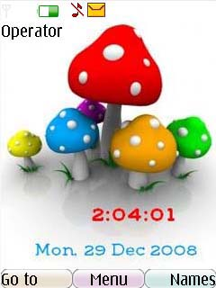 Swf Mushroom Clock Mobile Theme