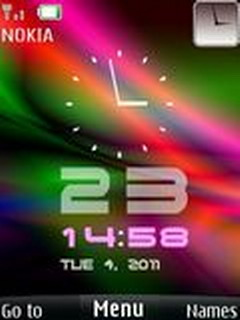 Neon Clock With Icons Mobile Theme