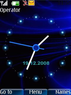 Blue Rays Clock Mobile Theme