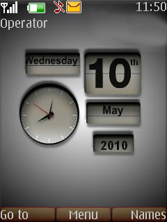 Simple Grey Calender Clock Mobile Theme