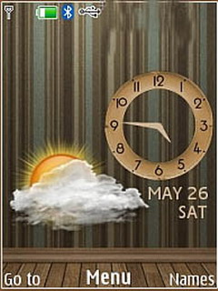 Brown Wall Live Clock Mobile Theme