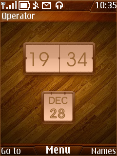 Glossy Wood Clock Mobile Theme