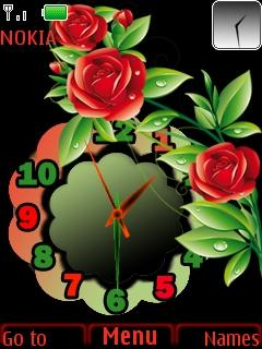 Red Rose Clock Mobile Theme