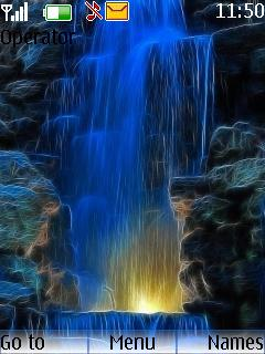 Blue 3D Water Fall Mobile Theme
