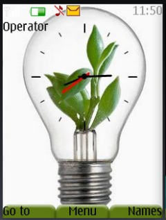 Plant In Bulb Clock Mobile Theme
