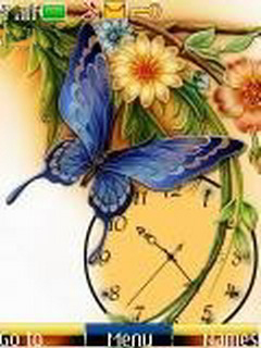 Yellow Clock Butterfly Mobile Theme