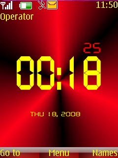 Red Digital Clock Mobile Theme