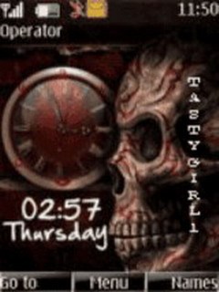 Skull Clock Mobile Theme