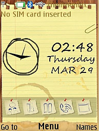 Sketch Note Clock S40 Theme Mobile Theme