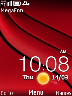 Red Nokia Clock Mobile Theme