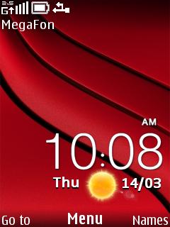 Red Nokia Clock Mobile Theme