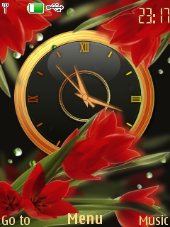 Red Flowers Clock Mobile Theme