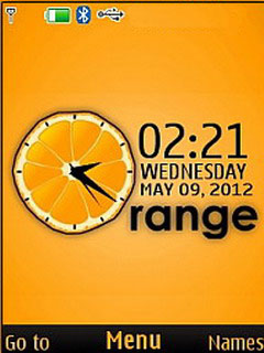 Orange 3D Clock S40 Theme Mobile Theme