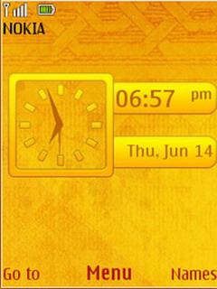 Yellow Abstract Clock S40 Theme Mobile Theme