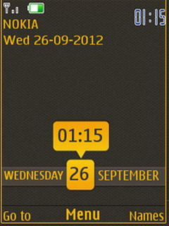 Yellow Nokia Clock S40 Theme Mobile Theme