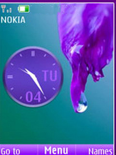 Purple Dropy Clock S40 Theme Mobile Theme