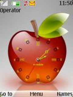 Red 3D Apple Clock S40 Theme Mobile Theme