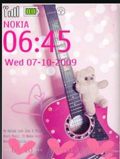 Pink Guitar Clock S40 Theme Mobile Theme