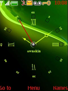 Swf Green Art Clock S40 Theme Mobile Theme
