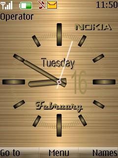 Gold Nokia Clock S40 Theme Mobile Theme